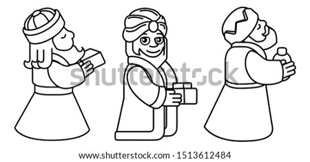 A Christmas nativity scene coloring cartoon, with with three wise men or magi and arriving with their gifts. Christian religious illustration.