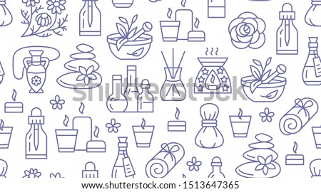 Aromatherapy seamless pattern with vector flat line icons. Essential oil vector background - diffuser, aroma candles, herbal flavors, stone massage, spa lotion. Backdrop for physiotherapy clinic. Royalty-Free Stock Photo #1513647365