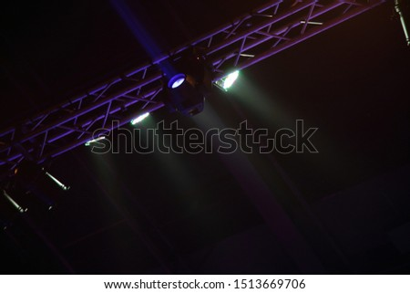 projector spotlights in smoke texture . lights beam for showing presentation . production and director multimedia background . concert party spotlight with tool set . #1513669706