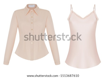 Beautiful fashionable set of women's clothing, luxurious pink long-sleeved shirt and silk top on shoulder straps, front view, clipping path, ghost mannequin, isolated on white background. #1513687610