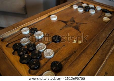 Wooden backgammon kit. Dice. A popular game in prison #1513695755