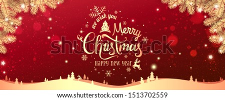 Gold Christmas and New Year Typographical on red Xmas background with winter landscape with snowflakes, light, stars. Merry Christmas card. Vector Illustration #1513702559