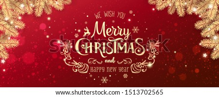 Gold Christmas and New Year Typographical on red Xmas background with winter landscape with snowflakes, light, stars. Merry Christmas card. Vector Illustration #1513702565