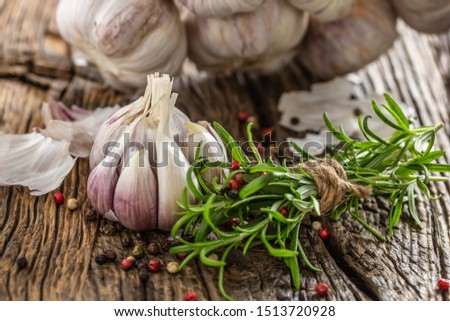 Garlic cloves bulb with fresh rosemary and spices on old wooden table. #1513720928