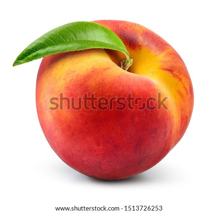 Peach isolate. Peach with leaf on white background. Full depth of field. With clipping path. #1513726253