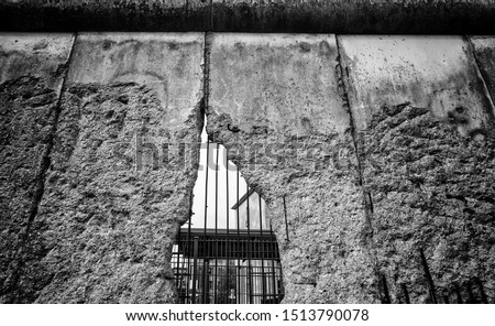 Remains of Berlin wall, detail of old concrete wall, Germany #1513790078