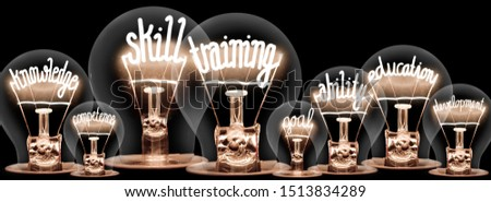 Photo of light bulbs with shining fibers in a shape of Skill Training, Education, Ability and Knowledge concept related words isolated on black background #1513834289