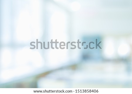 BLURRED OFFICE BACKGROUND, MODERN LIGHT SPACIOUS BUSINESS HALL