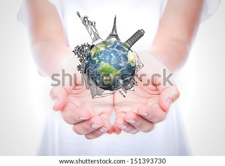Woman hands hold travel around the world (Japan,France,Italy,New York,India,egypt) over body isolated on background.  (Elements of this image furnished by NASA) #151393730