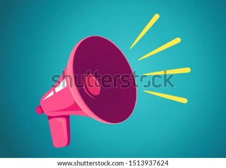 Vector vintage poster with retro pink megaphone on blue background. Retro megaphone on blue background. #1513937624