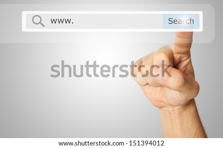 Finger clicking a search button #151394012