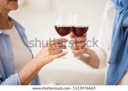 Mature couple clinking glasses with red wine at home, celebrating birthday #1513976663