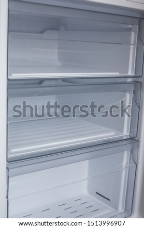 New clean white fridge detailed closeup view with big attention to details and new elements #1513996907
