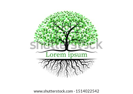 Trees with green leaves look beautiful and refreshing. Tree and roots LOGO style. #1514022542