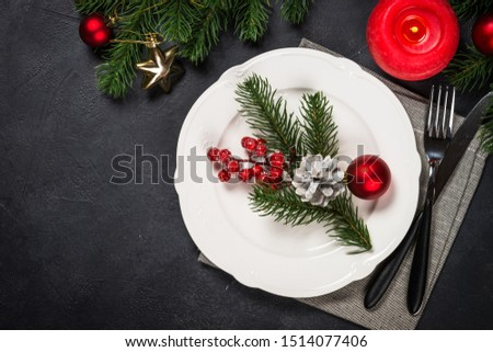 Christmas food background with white plate, cutlery and decorations, Flat lay image with copy space. #1514077406