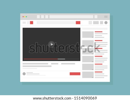 Vector illustration of Video hosting service page flat. Internet website, webpage UI, UX layout. Blank browser window cartoon concept with copyspace. Modern recreation, online entertainment technology #1514090069