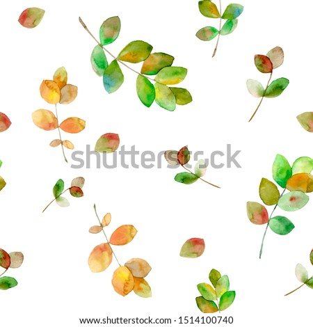 Leaves and twigs seamless pattern. Hand drawn watercolor botanical illustration. Wallpaper, fabrics, textile , backgrounds design.  #1514100740