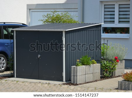 Modern Tool Shed, Bike Shed or Garden Shed with Alloy Profile and Plastic coated Front #1514147237