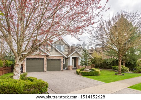 Houses in suburb at Summer in the north America. Luxury houses with nice landscape. #1514152628