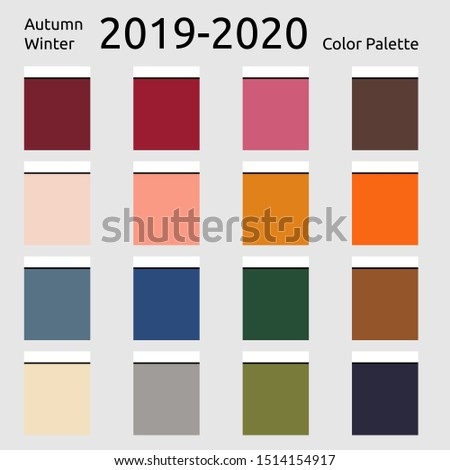 Autumn winter 2019 Colors Palette. Fashion trend. Palette fashion colors guide with named color swatches