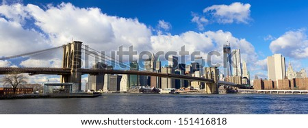 Panoramic view of Manhattan skyline and Brooklyn Bridge, New York City #151416818