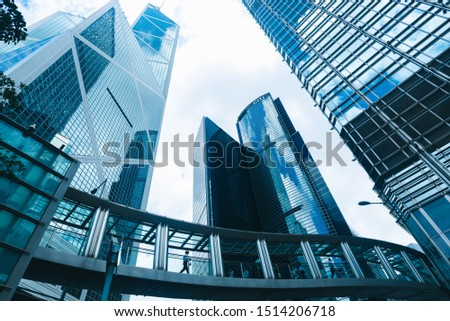 Hong Kong, China - August, 2019: skyscraper building in Hong Kong, city view in blue filter #1514206718