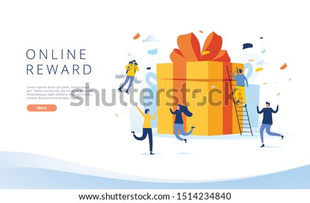 online reward , Group of happy people receive a gift box vector illustration concept, digital referral program, can use for, landing page, template, ui, web, homepage, poster, banner, flyer, coupon #1514234840