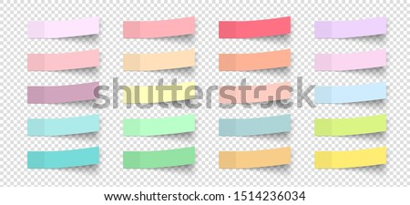 Post note stickers with shadow. Vector color paper sticky memos. Colorful school tags. Label sticker list