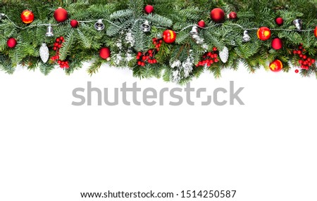 Christmas decorative background border with red bauble decorations and holly berries #1514250587