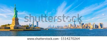 Panorama - Statue of Liberty and Manhattan Cityscape Background Photo - New York - USA - Sunset Light Panoramic Photos View #1514270264