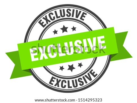 exclusive label. exclusive green band sign. exclusive.  exclusive round ribbon stamp #1514295323