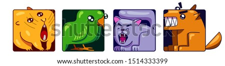 silly crazy square pets characters showing teeth. pet set of stickers or icons. bright colors. hamster, parrot kitty cat, dog. icon avatar #1514333399