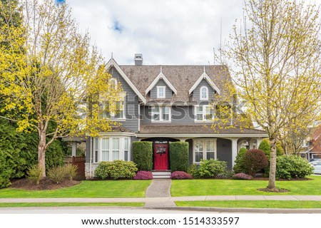 Houses in suburb at Summer in the north America. Luxury houses with nice landscape. #1514333597