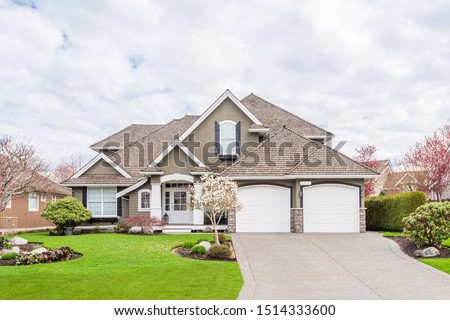 Houses in suburb at Summer in the north America. Luxury houses with nice landscape. #1514333600