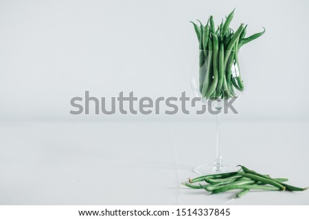 green kidney bean in glass.Green beans isolated on a white background #1514337845
