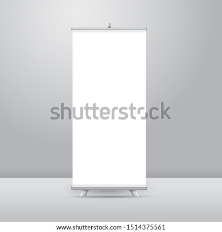 Realistic vector Roll up stand Banner Mock up Design Illustration #1514375561