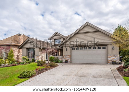 Houses in suburb at Summer in the north America. Luxury houses with nice landscape. #1514409128