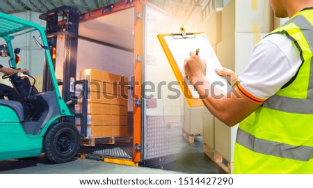 double exposure of forklift loading cargo into the container, worker hand holding clipboard inspecting checklist delivery load shipment, freight industry warehouse logistics transport. #1514427290