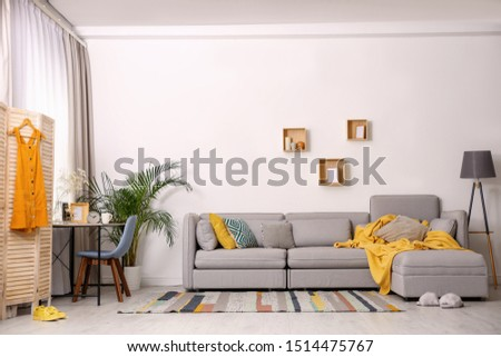 Modern living room interior with comfortable couch #1514475767