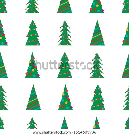 Christmas seamless pattern with green Christmas trees with colorful toys, balls and garlands. Vector illustration #1514603936