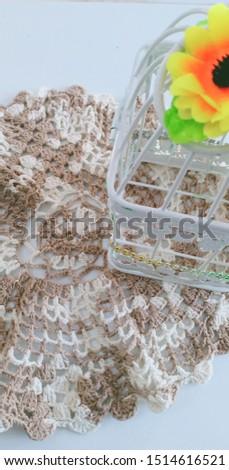 Light brown and light brown crocheted mats #1514616521