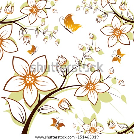 flower background with butterfly isolated on white