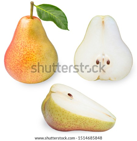 Fresh pears isolated on white background ,Red pear with cut piece on a white with clipping path with clipping path #1514685848