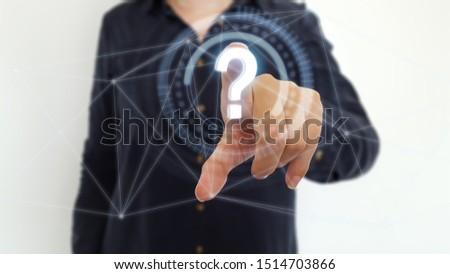 Businesswoman  using question mark on digital interface #1514703866