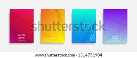 Minimal covers design. Halftone dots colorful design. Future geometric patterns. Eps10 vector. #1514731904