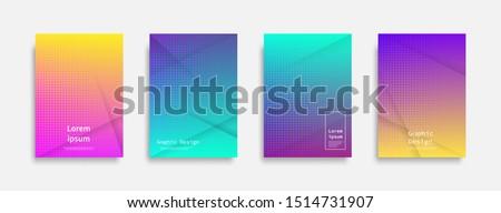 Minimal covers design. Halftone dots colorful design. Future geometric patterns. Eps10 vector. #1514731907