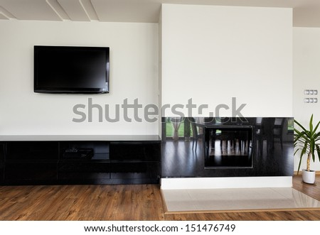 Urban apartment - modern fireplace with stone wall around #151476749