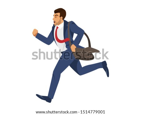 Young Handsome Man in Blue Formal Suit and Red Tie Holding Brown Shoulder Bag Running Fast Isolated on White Background. Office Employee, Businessman Hurry Up at Work. Cartoon Flat Illustration