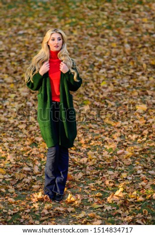 Girl stylish outfit with soft wool or cashmere cardigan. Feel so warm and comfortable. Woman wear long wool cardigan while walk in park. Fall fashion warm cardigan. Autumn fashionable cardigan. #1514834717