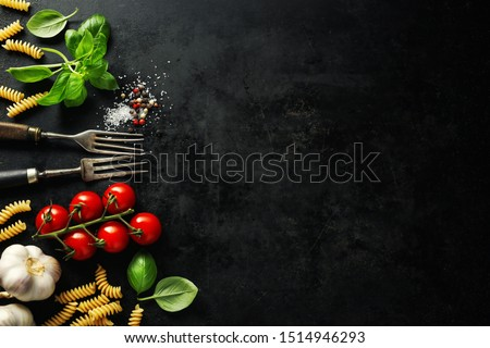 Italian food background. Italian cuisine. Ingredients on dark background. Cooking concept. Cooking background. #1514946293
